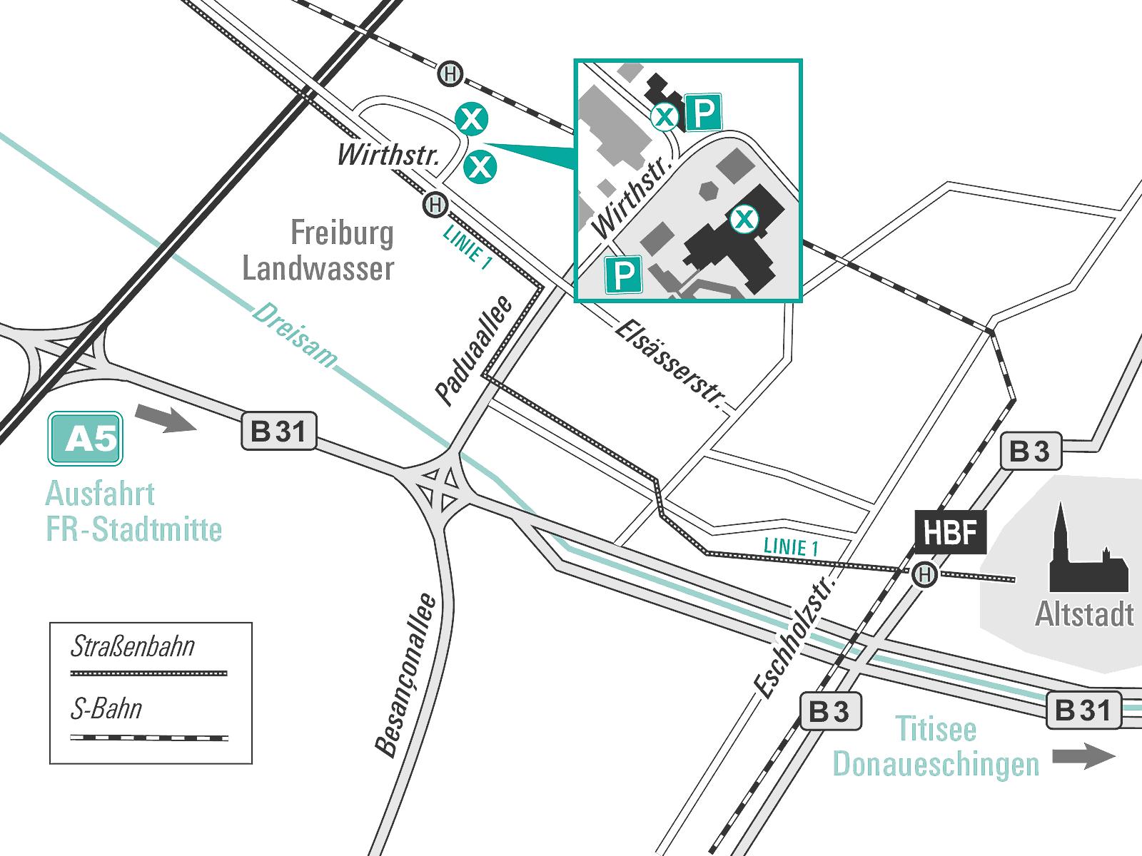 Anfahrtskizze IBID - Radiologie im Diakoniekrankenhaus Freiburg und im Ärztehaus WTZ